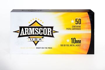 Picture of Armscor 10mm 180 Gr FMJ Full Metal Jacket Pistol Ammunition - Box of 50