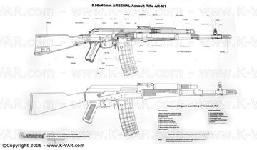 Picture of Bulgarian B&W Poster With details for 5.56 cal. AR-M1