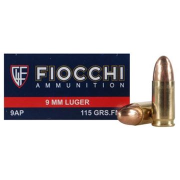 Picture of Fiocchi 9mm 115gr FMJ Brass Ammo -  Box 50