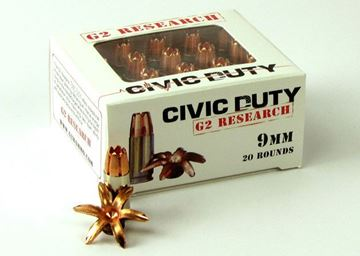 Picture of G2 Research Civic Duty 9mm 100gr. R.I.P. Ammo - Box of 20 rounds