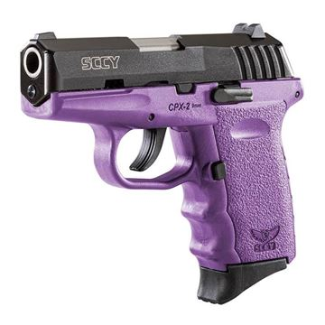 Picture of SCCY 9mm Semi Auto Pistol w/o Safety, Black Nitride, Purple Grip