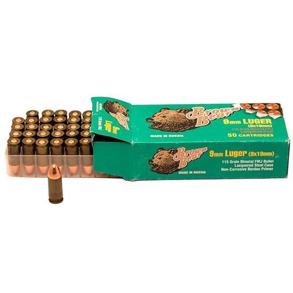 Picture of Ammo, Brown Bear, AA919RFMJ, 9MM Luger, 115 Grain, FMJ 50 Rounds Box