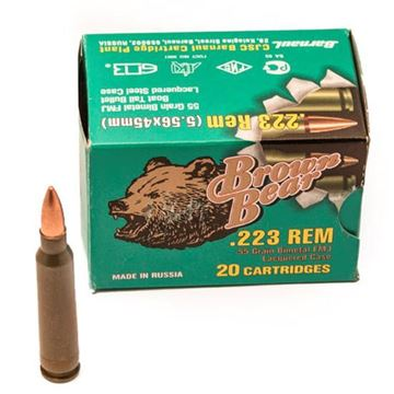 Picture of Ammo, Brown Bear, AB223FMJ, .223 REM, 55 gr., FMJ, 20rd per box, 500rd per case, 25 boxes per case