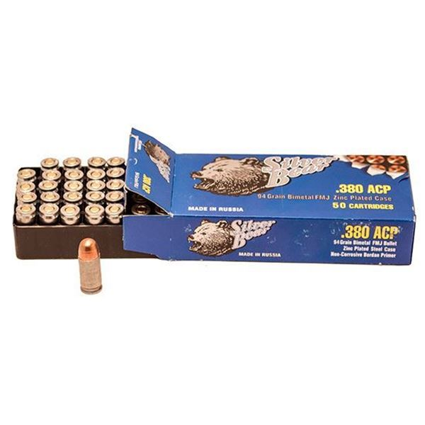 Picture of BOX of 50rds of .380 ACP Full Metal Jacket ammunition. By Silver Bear, made in Russia.