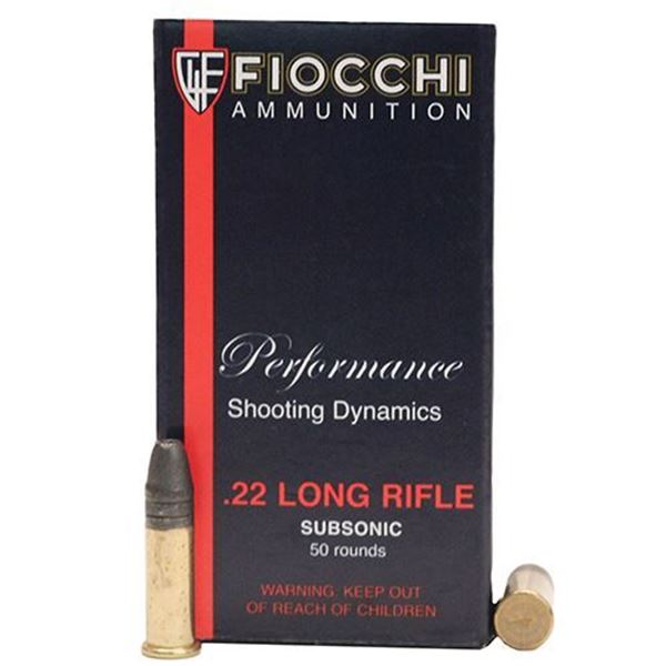 Picture of Fiocchi .22 Long Rifle 40 Grain Subsonic Lead HP