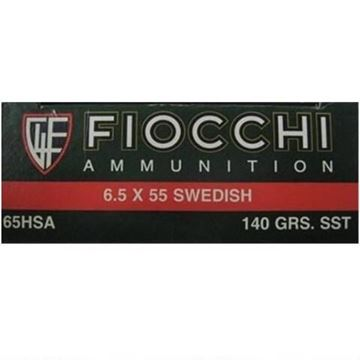 Picture of Fiocchi Ammunition 6.5x55mm Swedish Mauser 140 Grain Hornady Super Shock Tip Boat Tail 20 Round Box