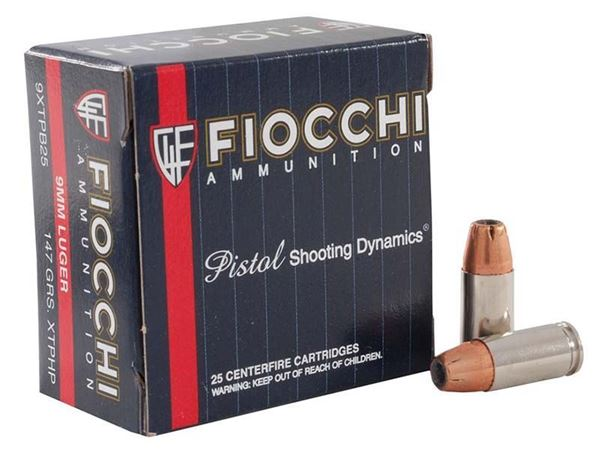 Picture of Fiocchi Ammunition 9mm 147 Grain Hornady XTP Jacketed Hollow Point 25 Round Box