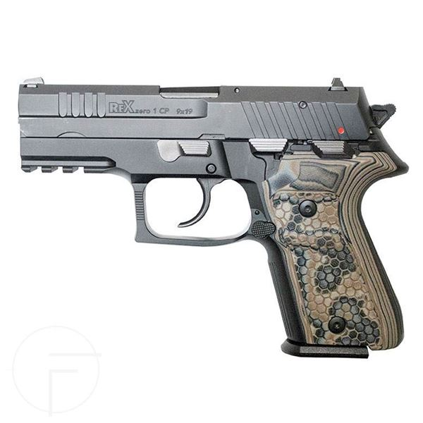Picture of Rex Zero 1CP Compact Pistol, Black, 9mm with Two 15-Round Magazines and Dark Earth Grips