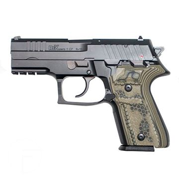 Picture of Arex Rex Zero 1CP Pistol, Black, 9mm, Two 15-Rounds Magazines and Green Grips