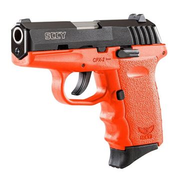 Picture of SCCY 9mm Semi Auto Pistol w/o Safety, Black Nitride, Orange Grip