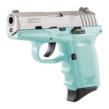 Picture of SCCY 9mm Semi Auto Pistol w/o Safety, Stainless Steel, Blue Grip