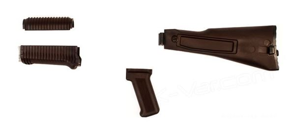 Picture of Arsenal Plum Polymer Left-Side Folding Buttstock Set with Stainless Steel Heat Shield and Pistol Grip for Krinkov Stamped Receivers