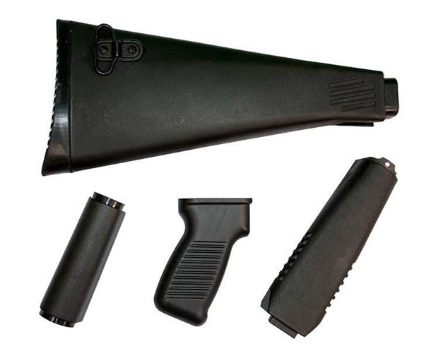 Picture of Stock set for milled receiver, ARM9 design, polymer, black, NATO length, has US pistol grip