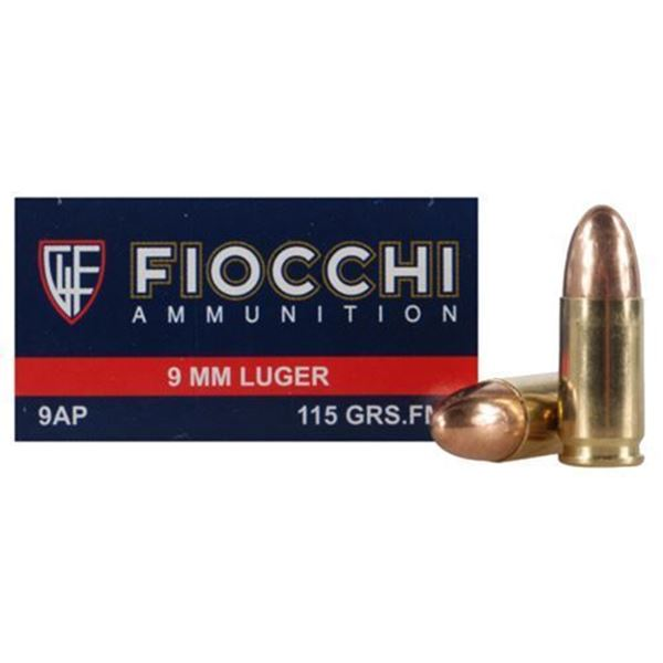 Picture of Fiocchi 9mm 115gr FMJ Brass Ammo Case 1000
