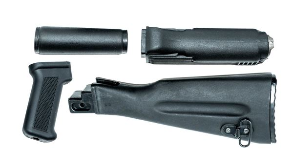 Stock set, includes US made black polymer buttstock and pistol grip, Bulgarian polymer handguards