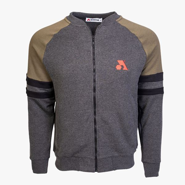 Picture of Arsenal Gray / Khaki Cotton-Poly Standard Fit Classic Crew Zip-Up Jacket