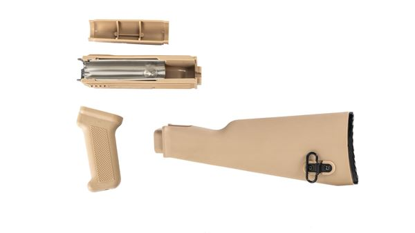 Picture of Arsenal Desert Sand Polymer Stock Set with Stainless Steel Heat Shield for Milled Receivers