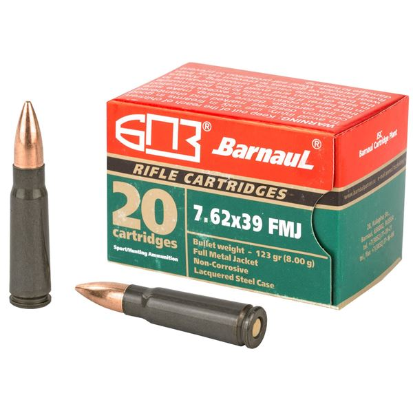 Picture of Barnaul 7.62X39mm 123Gr FMJ Steel Lacquered Case 500 Rounds Ammunition